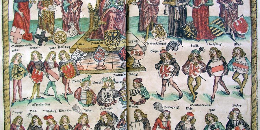 Celjski grofje (spodaj desno) v strukturi cesarstva Schedlove kronike iz leta 1493