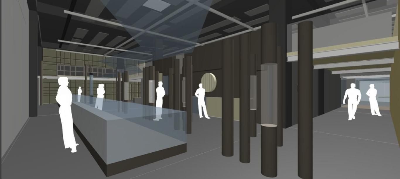 Idejna zasnova razstavišča s komoro za deblak