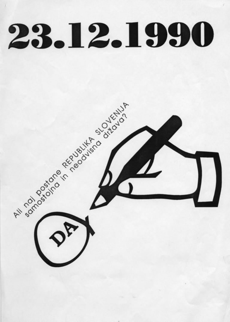 Letak s pozivom na plebiscit, 23. 12. 1990; hrani MNZS
