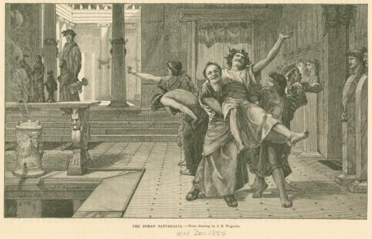 Razglednica iz leta 1884 prikazuje praznovanje rimske Saturnalije