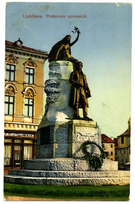 Prešernov spomenik na razglednici iz leta 1916 (dedi.si)