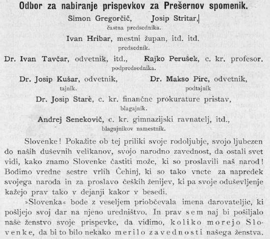 Poziv v časopisu Slovenka, katerega namen je bil zbiranje denarnih sredstev za Prešernov spomenik; navedeni so tudi člani odbora (dlib.si)