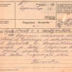 Brzojavka s sporočilom o prihodu dalmatinskih beguncev. SI_ZAL_IDR/0129, Splošno pisarniško poslovanje, f. 139.