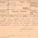 Brzojavka s sporočilom o prihodu galiških beguncev. SI_ZAL_IDR/0129, Splošno pisarniško poslovanje, f. 139.