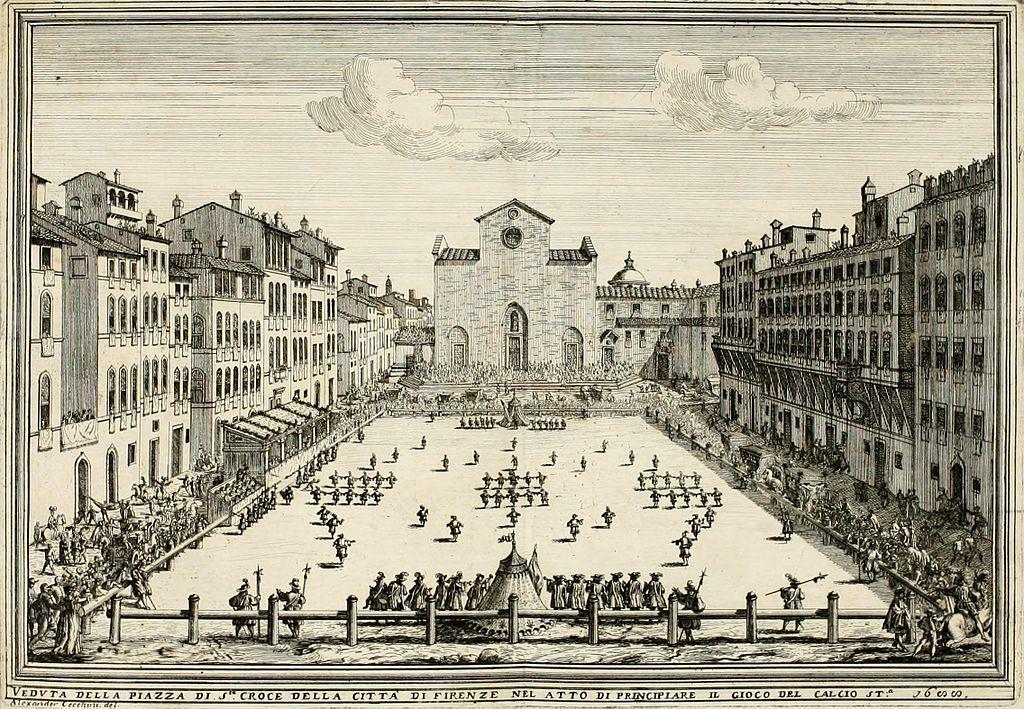 """Ilustracija v knjigi """"Calcio Fiorentino"""" iz leta 1688, ki prikazuje nogometno igrišče in začetno postavitev dveh moštev. Foto: Wikimedia"""