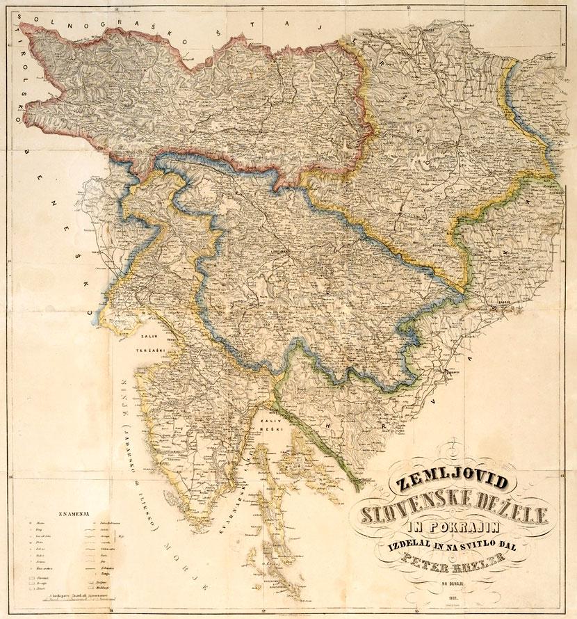 Kozler, Zemljovid slovenske dežele in pokrajin