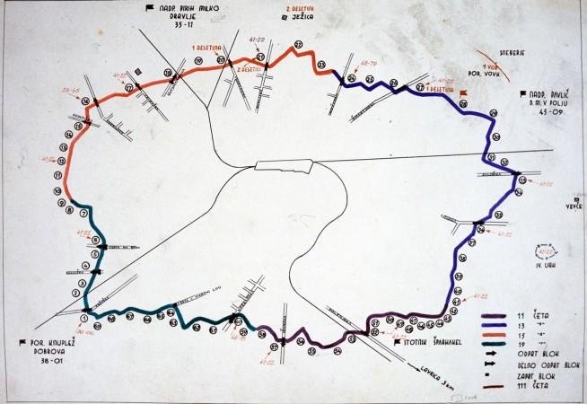 Načrt obroča okoli Ljubljane 1944. Foto: arhiv MGML