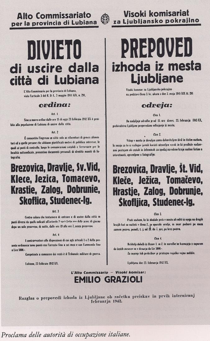 Razglas, ki prepoveduje izhod iz Ljubljane. Foto: Wikimedia