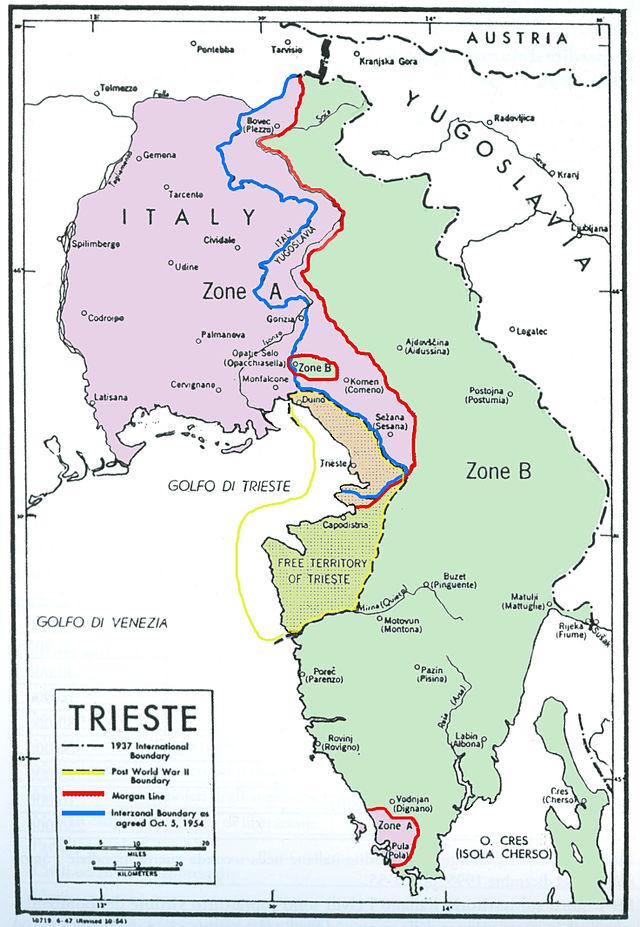 Italijansko-slovenska meja po 2. svetovni vojni. Foto: Wikiwand