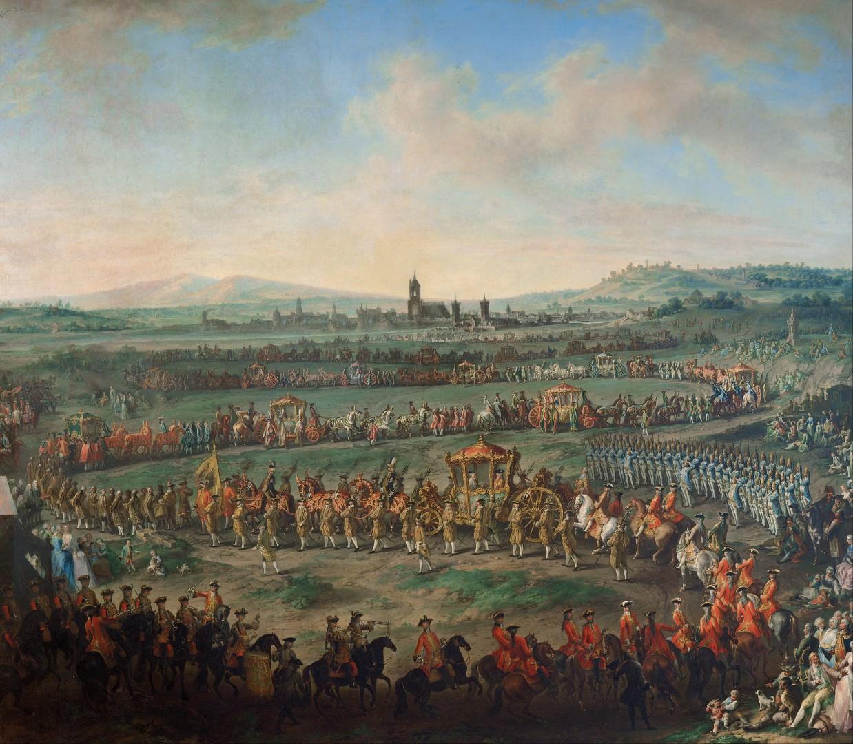 Prihod Jožefa in očeta (cesarja) Franca I. v Frankfurt na kronanje (29. marec, 1764).
