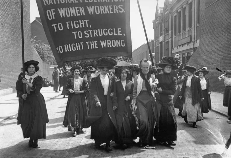 16th May 1911: British suffragette Charlotte Despard (1844 - 1939) (wearing a white waistcoat) heads a march of the National Federation of Women Workers through Bermondsey in South London. (Photo by Topical Press Agency/Getty Images)