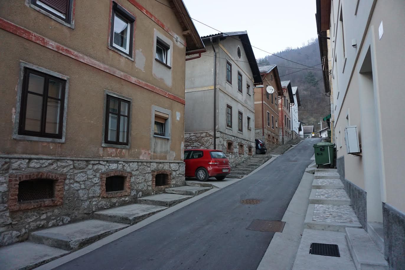 Zahodni del današnje Rudarske ulice, 2017. Foto: Matevž Šlabnik