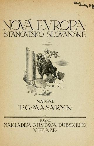 Prva stran Masarykovega dela Nova Evropa. Foto: us.archive.org