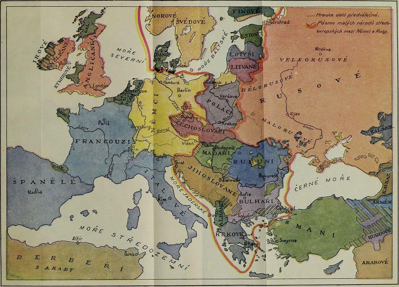 Zemljevid Masarykove zamisli o ureditvi povojne Evrope. Foto: upload.wikimedia.org