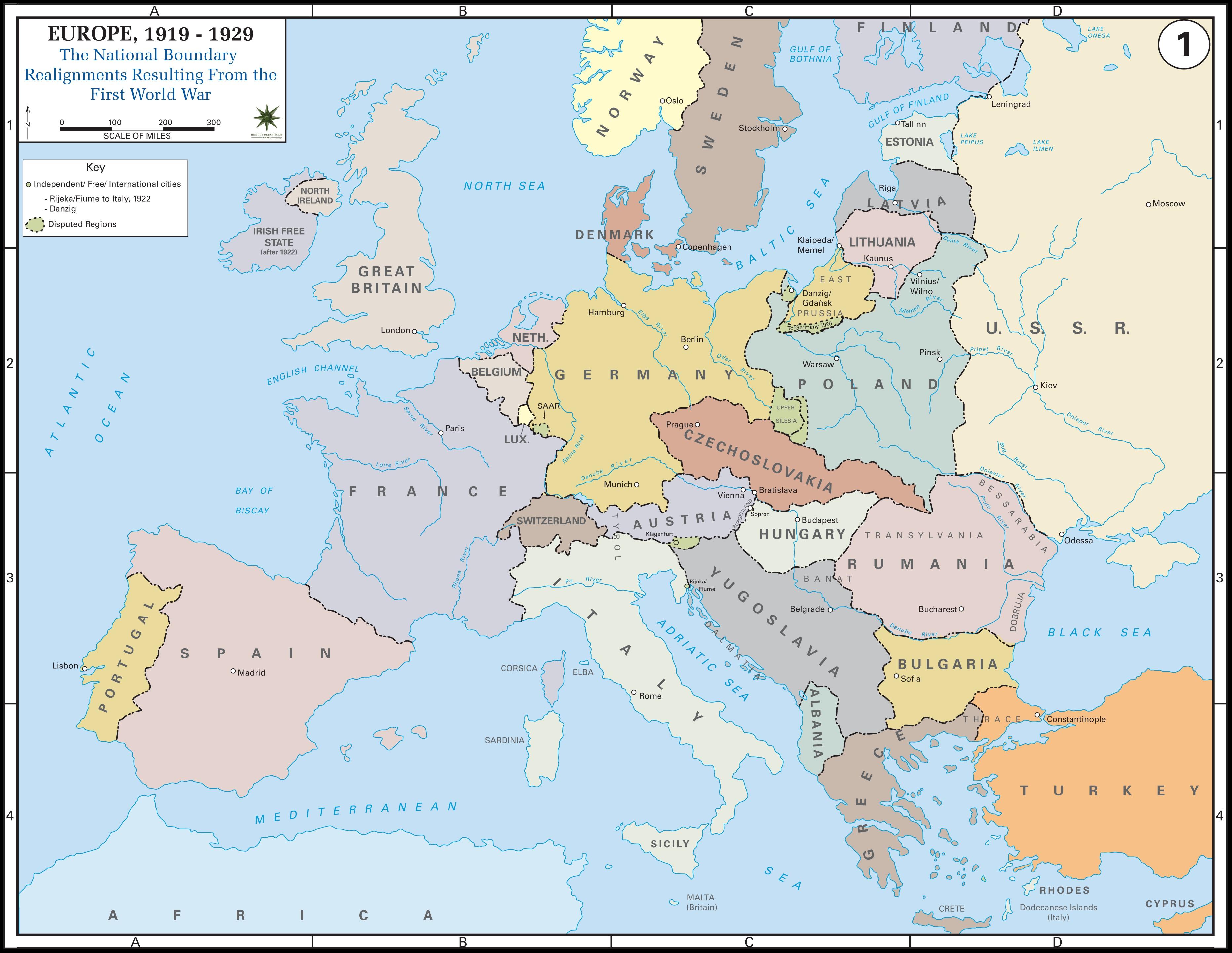 Zemljevid povojne Evrope. Slika: www.learnnc.org