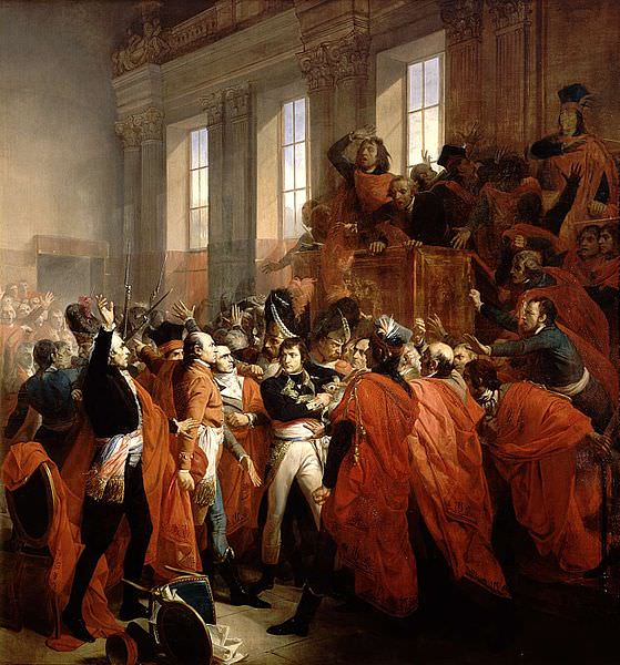 General Bonaparteobkrožen s člani Sveta petstotih med vstajo 18. Brumaira.