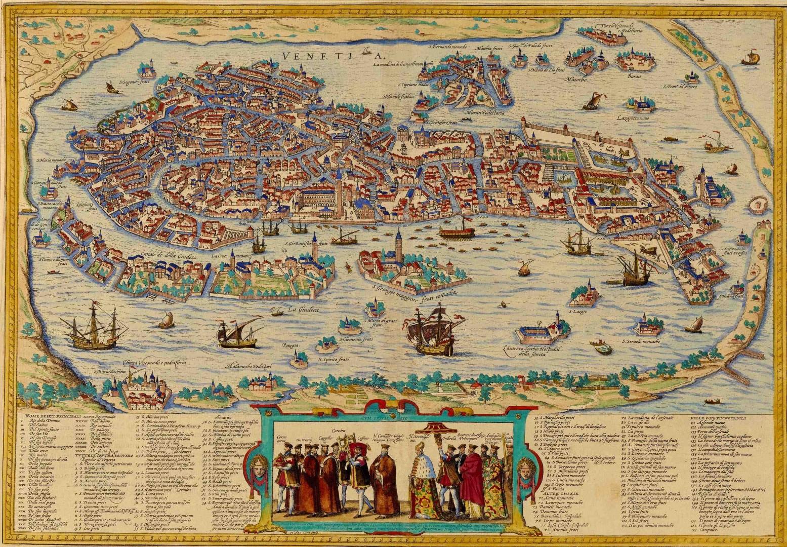 Zemljevid Benetk iz 16. stoletja.