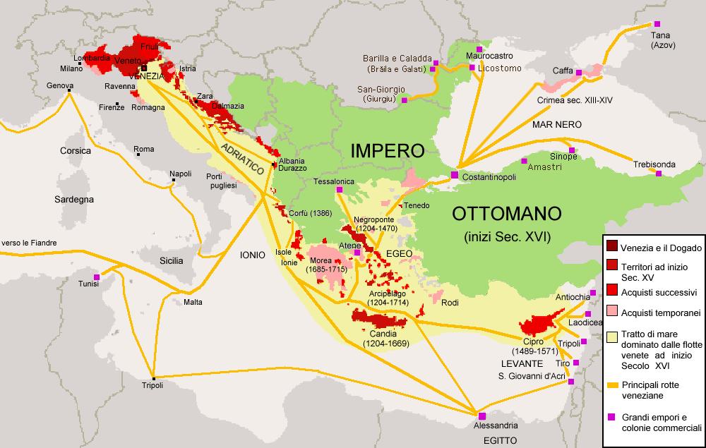 Zemljevid beneškega ozemljskega in trgovskega imperija.