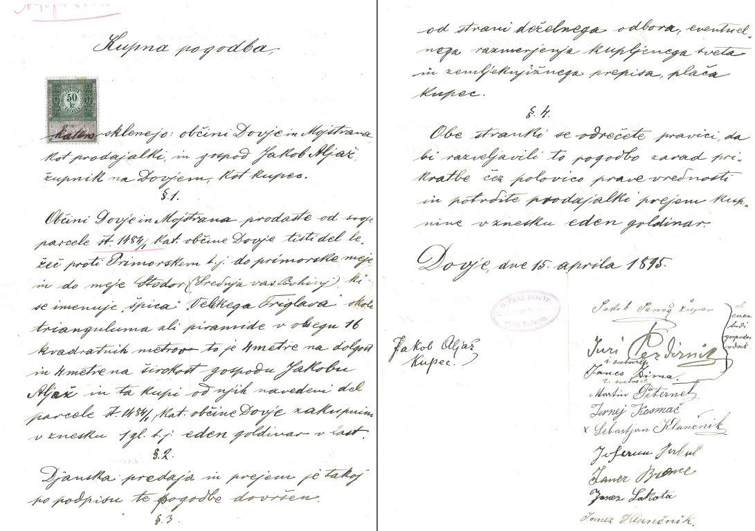Jakob Aljaž je 15. aprila 1895 za en goldinar kupil vrh Triglava. Še istega leta je tam postavil stolp.