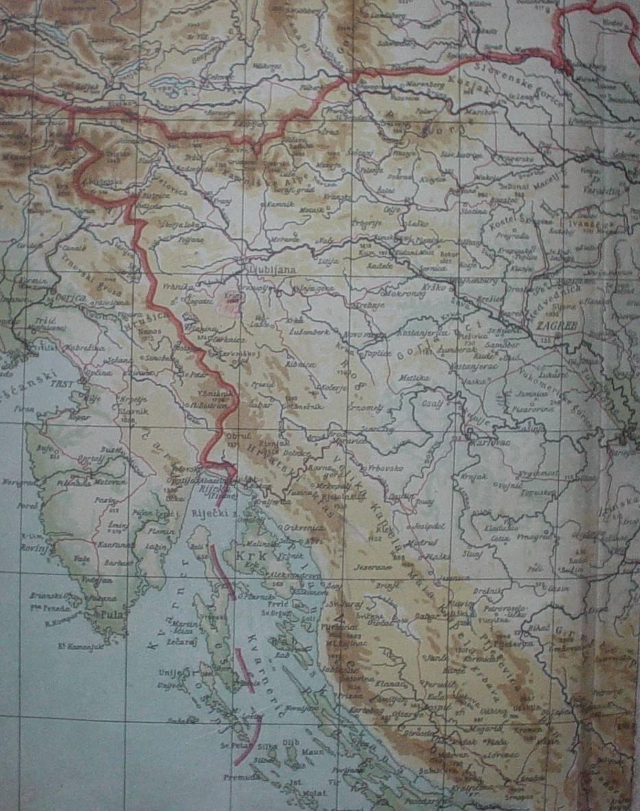 Rapalska meja. Vir: Wikipedija (https://sl.wikipedia.org/wiki/Rapalska_pogodba).