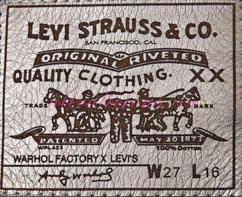 Etiketa iz hlač, kjer je zapisan tudi datum patenta. Foto: viola.bz