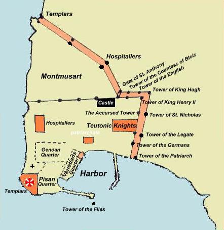 Zemljevid Akkona, 1291. Edina stvar, ki so jo križarji nadzorovali, je bila pomorska povezava s Ciprom, kar jim je omogočilo delno evakuacijo. Foto: Wikimedia
