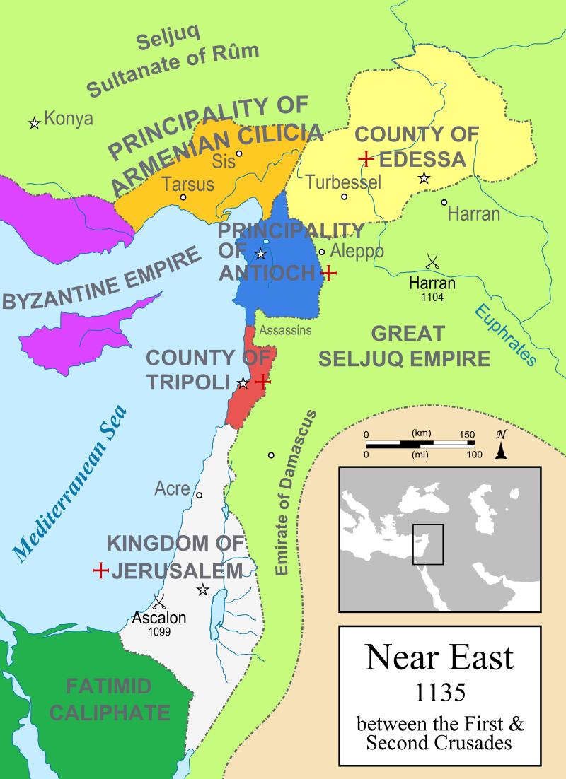Jeruzalemsko kraljestvo in druge križarske države v okviru Bližnjega vzhoda leta 1135. Foto: Wikimedia