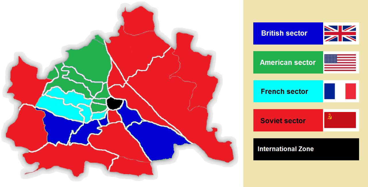 Okupacijska razdelitev Dunaja med leti 1945-1955. Foto: Wikimedia