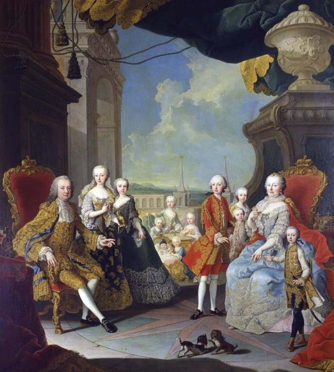 Marija Terezija z družino leta 1754. Foto. Wikimedia