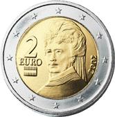 Bertha von Suttner na avstrijskem kovancu za 2 evra.
