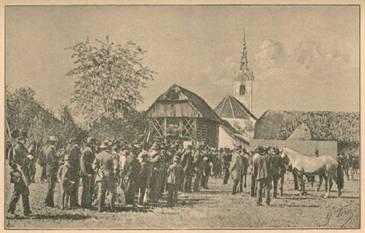 Gustav Pirc, Obdarjevanje konjev v St. Jerneju na Dolenjskem, 13. 9. 1890 (Dom in svet, 1891, št. 1)