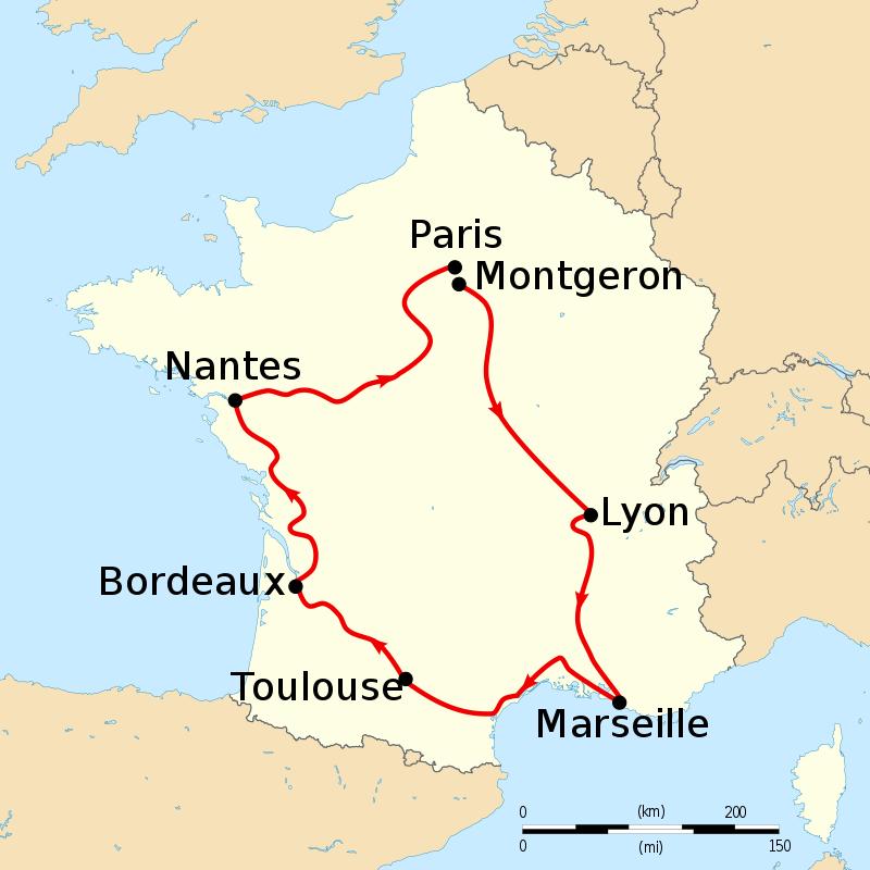 Potek prvega Tour de France, ki se je začel v Montgeronu in končal v Parizu. Foto: Wikimedia