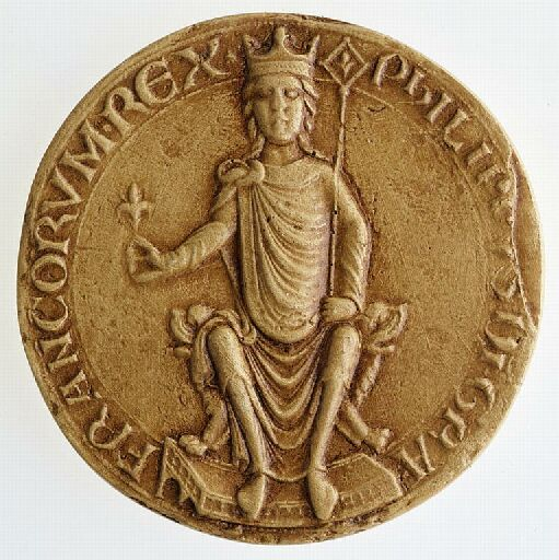 Zlatnik Filipa II. z napisom PHILLIPVS DEI GRATIA FRANCORUM REX (Filip, po milosti božji francoski kralj).