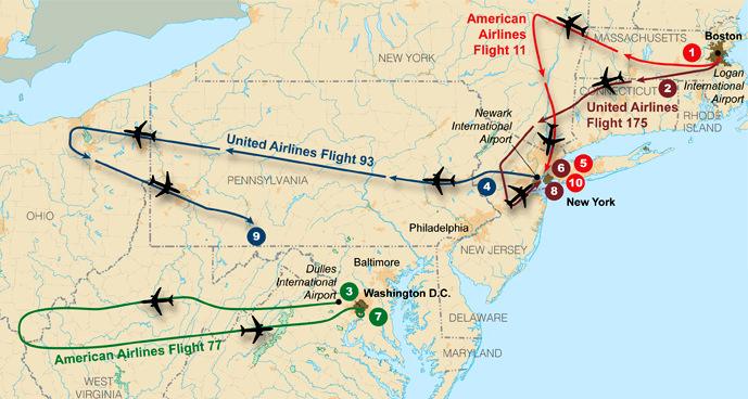 Poti letal, ki so 11. septembra 2001 strmoglavila na ameriških tleh.