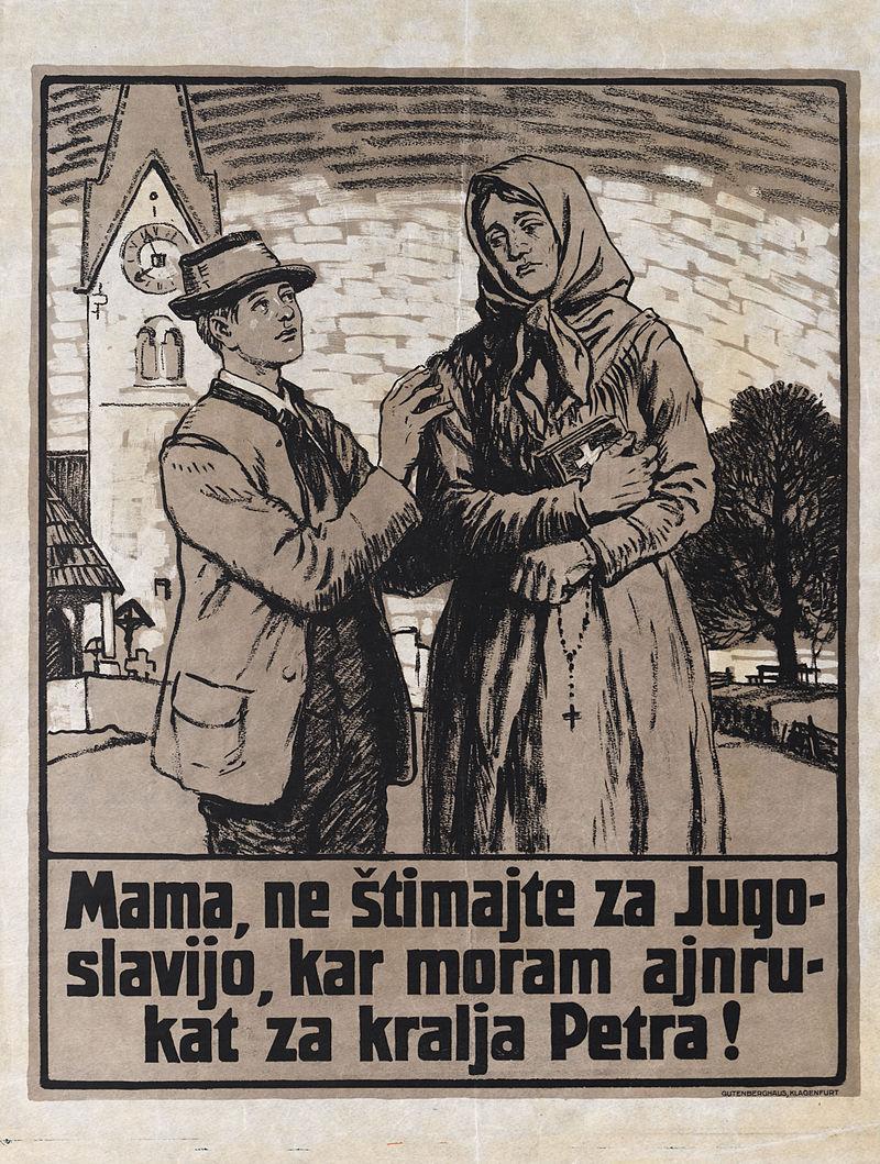 Avstrijski propagandni plakat ob plebiscitu. Foto: Wikimedia