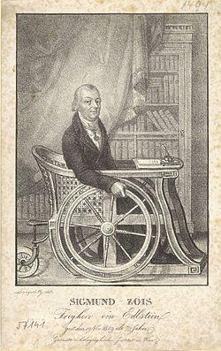 Žiga Zois na vozičku, izdelanem po njegovih načrtih v starejših letih. Foto: Wikimedia