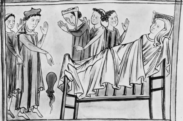 Normanski zdravnik pri oskrbi pacientov okoli leta 1400. Foto: historyextra.com
