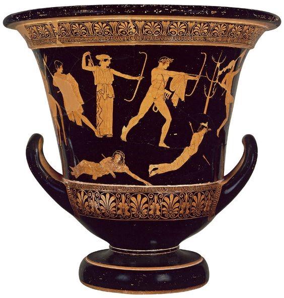 Slika 3: Apolon in Artemida pobijata Niobine otroke Atiški rdeče figuralni krater, ok. 475 - 425 pr. n. št.