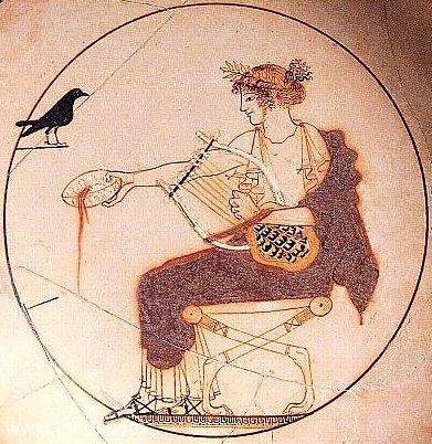 Slika 2: Apolon z liro Atiški rdeči figuralni (z belo podlago) kylix, pripisano slikarju Evfroniju, ok. 470 pr. n. št.