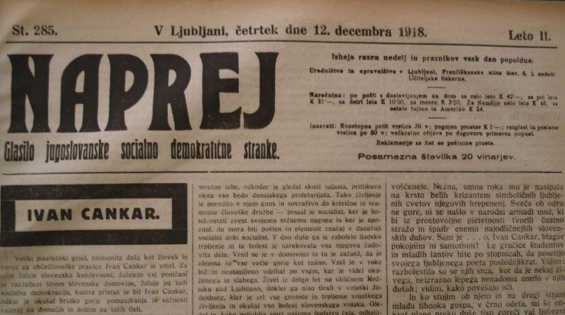 """Prva številka političnega in gospodarskega lista """"Naprej"""""""