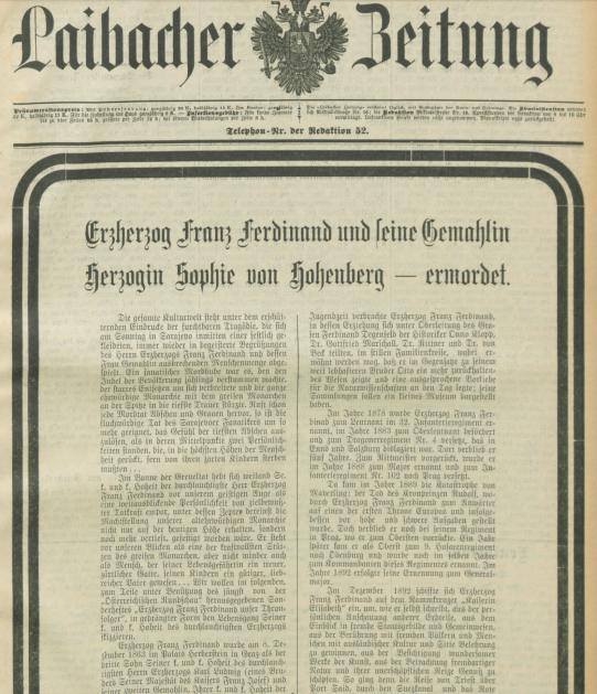 Naslovna stran časopisa Laibacher Zeitung (Vir: dLib)