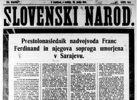 Naslovna stran Slovenskega naroda (Vir: dLib)
