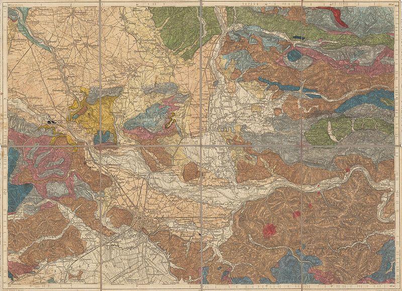Seidlov geološki zemljevid osrednje Slovenije iz ok. 1910. Foto: Wikimedia