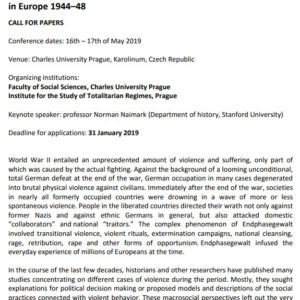 Conference: Reshaping the Nation: Collective Identities and Post-War Violence in Europe 1944–48